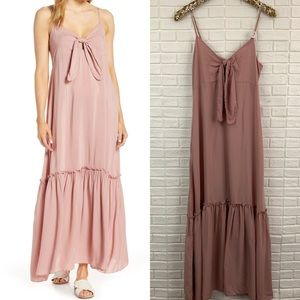 Elan cover up maxi dress tie knot front pink NEW